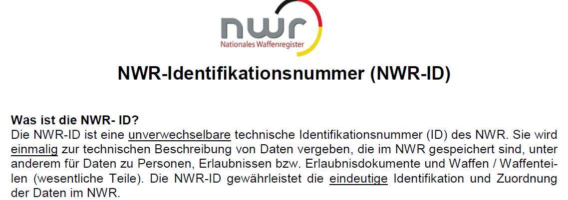 Information des Nationalen Waffenregisters